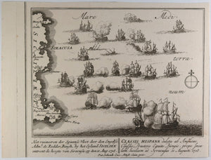 Print of the Naval Battle of Cape Passaro...1718' @1730