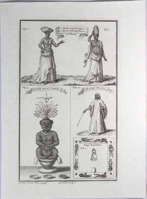 Print with five images 'Dress of ye Grandees'...from Marchais' 1745-1747