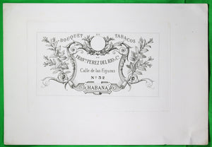 Proof print of Cuban cigar box label (Francesco Perez del Rio) @late 19th