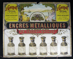 Publicité pour encres métalliques Gardot Dijon (début 20ème) / Advertising for metallic inks, France early 1900s