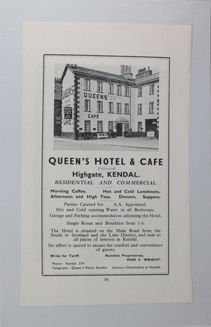 Queens Hotel & Cafe Kendal (Cumbria UK) advertising 1930s