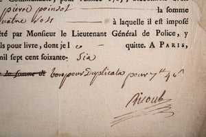 Quittance de capitation Marchands d'eau-de-vie Paris 1766