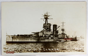 RPPC WW1 photo postcard of HMS Canada in harbor @1916