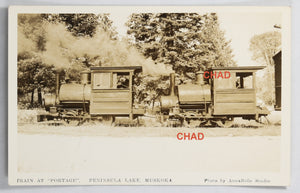 RPPC photo Portage Flyer Train at Peninsula Lake Muskoka Ont. #2