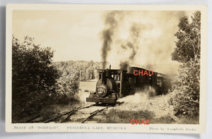 RPPC photo Portage Flyer Train at Peninsula Lake Muskoka Ont.