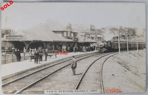 RPPC photo T. & N.O. Train Station, Cobalt Ontario @1910