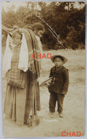 RPPC photo aboriginal woman with children Sudbury Ontario @1910