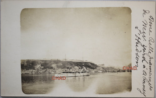 RPPC photo postcard steamship going up Hudson River, NYC to Albany