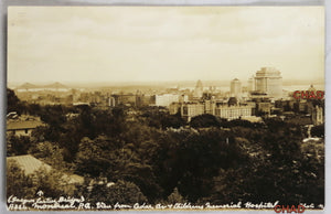 RPPC photo postcard view Montreal from Cedar Ave. Childrens Hosp.