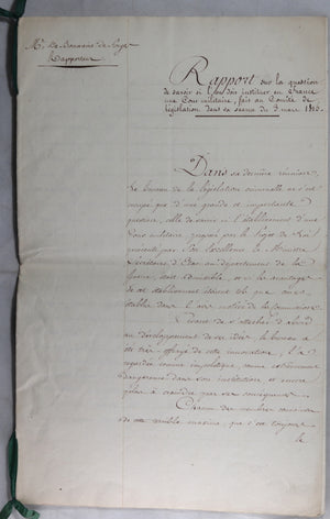 Rapport sur institution d'une Cour militaire en France 1815 (fin Restauration)