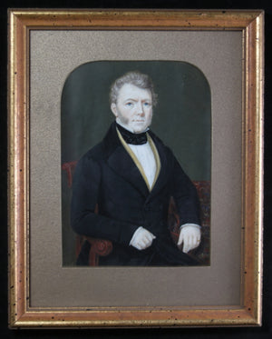 Regency hand painted miniature portrait of seated gentleman, early 19th century