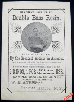 Remfrey's Double Bass Rosin - Advertising card early 1900's