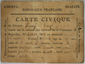 Revolution – 1798 Carte Civique de Bruxelles