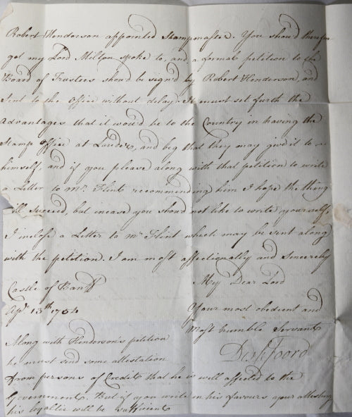 Scotland 1754 letter Lord Deskford to Lord Lauderdale - politics