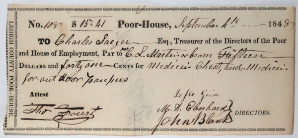 Sep. 4th 1848 Allentown PA Lehigh County Poor-House medicine chest