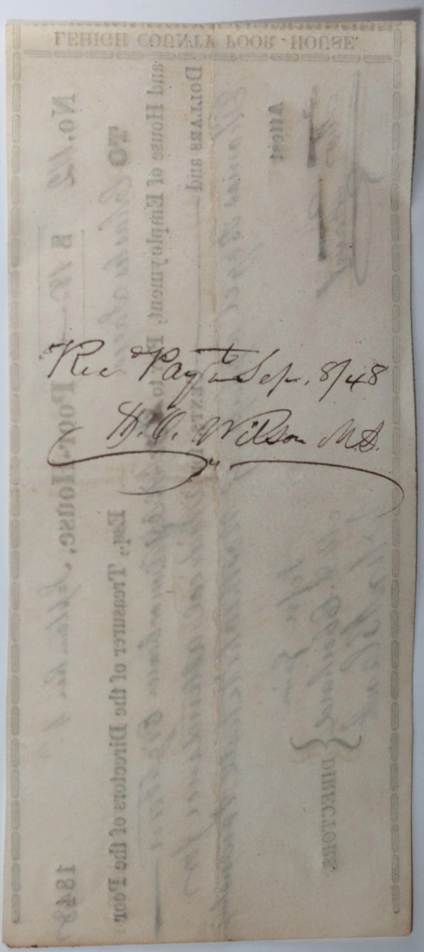 Sep 4th 1848 Allentown PA Lehigh County Poor-House, medical attendance