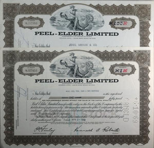 Set of 2 stock certificates Peel-Elder Limited 1968-69