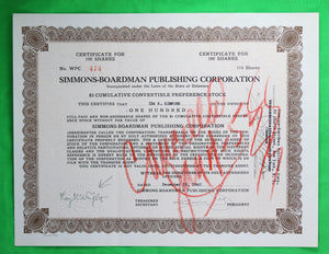 Set of 2 stock certificates of Simmons-Boardman Publishing Corporation (1936/40)