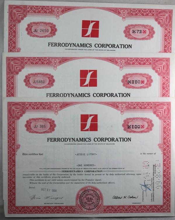 Set of 3 stock certificates for Ferrodynamics Corporation (1964-65)