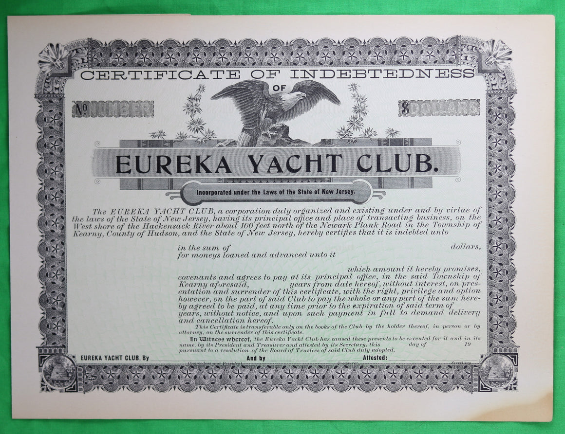 Set of 3 unused certificates of indebtedness for Eureka Yacht Club N.J. (early 1900s)