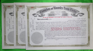 Set of 3 unused preferred stock certificates Crompton and Knowles Loom Works (1897?)
