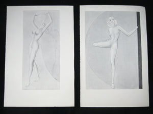 Set of 7 illustrations for female stretches from Malmstead 'Awaken your Sleeping Beauty' 1935