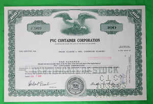 Set of 7 stock certificates of PVC Container Corp (1969-74)