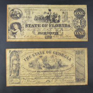 Set of five (5) Civil War currency notes FORGERIES/COPIES (1940s+)