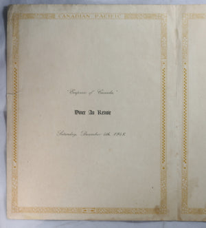 Set of two Canadian Pacific Steamship Menus - 1948