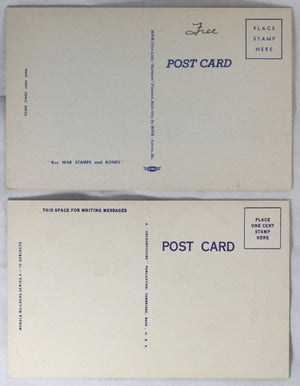Set of two WW2 USA patriotic postcards