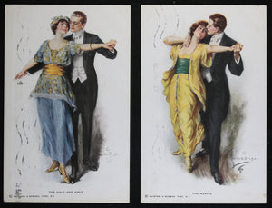 Set of two  postcards of dancing couple by Lester Ralph 1919