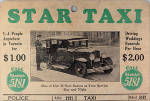 Star Taxi advertising wall card,  Toronto Canada 1920s