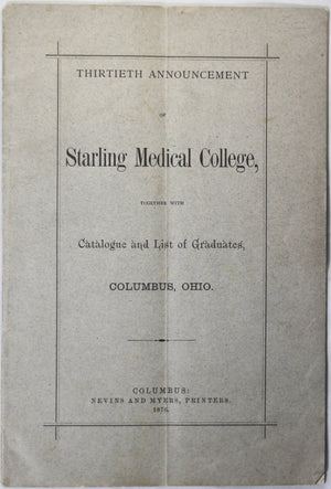 Starling Medical College Columbus Ohio - 1876 pamphlet
