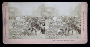 Stereoscopic photo Market Day Montreal @1894