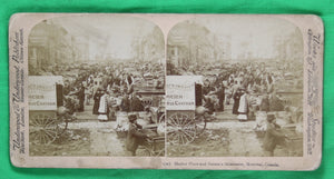 Stereoscopic photo Market Place and Nelson's Monument Montreal @1900