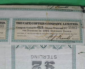 Stock certificate 'The Cape Copper Company Limited' - 1 share (1898)