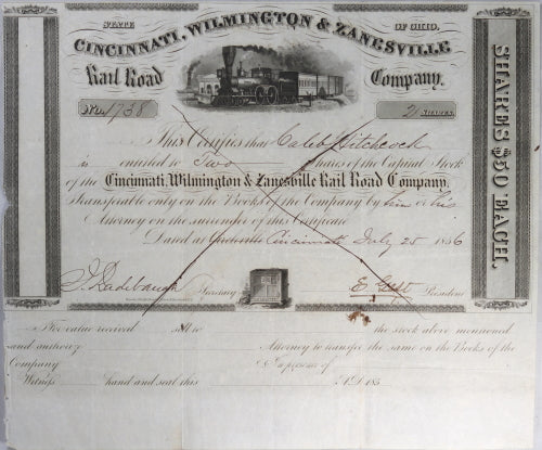 Stock Certificate Cincinnati, Wilmington & Zanesville Railroad Co