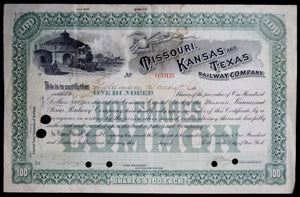 Stock Certificate Missouri Kansas & Texas Railway Company early 1900s