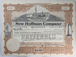 Stock Certificate New Hoffman Company preferred shares 1917