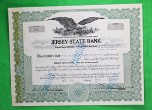 Stock certificate of Jersey State Bank (1960)
