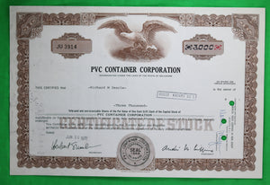 Stock certificate of PVC Container Corp (1978)