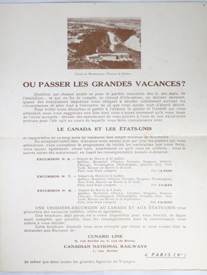 Summer 1931 Cie. Gle. Transatlantique travel brochure – Canada/USA