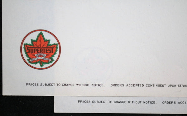 Supertest Gasoline (Canada) sheets with company letterhead and logo