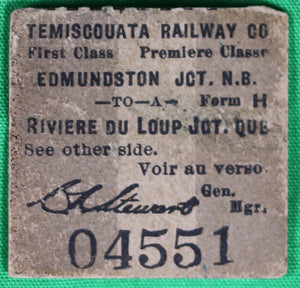 Temiscouata Railway Co. ticket stub 1946 (Canada)