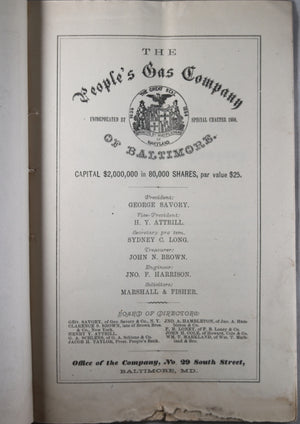 The People's Gas Company of Baltimore - Prospectus 1869