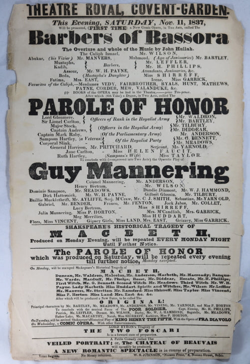 Theatre Royal Covent Garden (London) playbill November 11, 1837