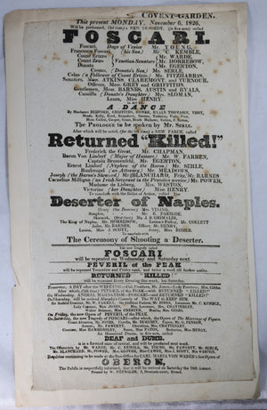 Theatre Royal Covent Garden (London) playbill November 6, 1826