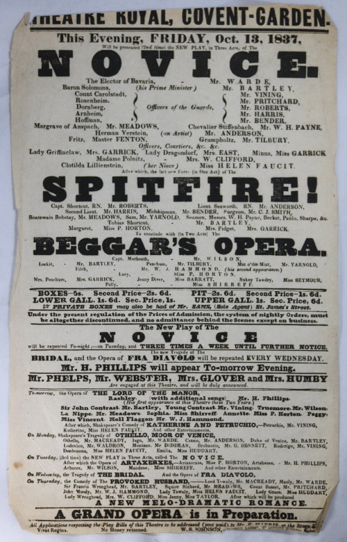 Theatre Royal Covent Garden (London) playbill October 13, 1837