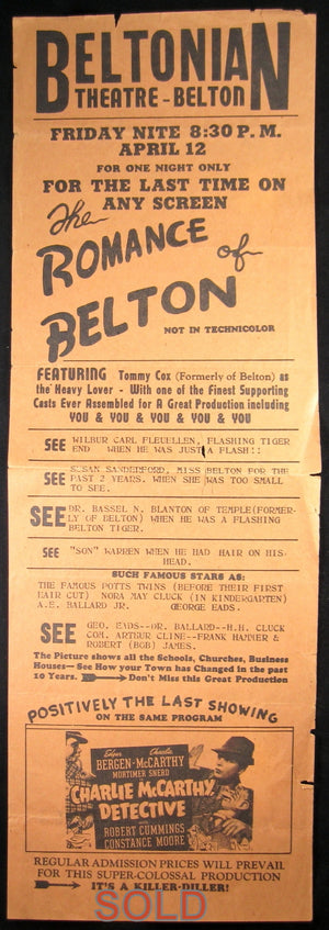 Theatre playbill for Beltonian Theatre - Belton TX 1940