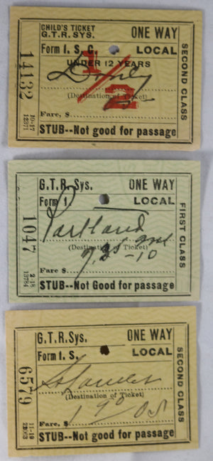 Three GTR ticket stubs from South Durham PQ (1918 and 1921)
